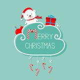 Белый медведь младенца, giftbox, снежинка, шарик Карточка с Рождеством Христовым висеть тросточки конфеты Штриховой пунктир с смы иллюстрация штока