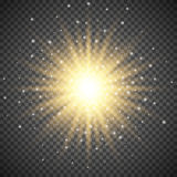 Белый накаляя светлый взрыв взрыва на прозрачной предпосылке Яркое украшение влияния пирофакела с sparkles луча Иллюстрация вектора