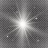 Белый накаляя светлый взрыв взрыва с прозрачным Иллюстрация вектора для холодного украшения влияния с лучем сверкнает Яркое sta Стоковая Фотография