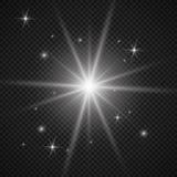 Белый накаляя светлый взрыв взрыва с прозрачным Иллюстрация вектора для холодного украшения влияния с лучем сверкнает Яркое sta Стоковое Фото