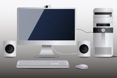 Белый настольный компьютер Стоковые Фотографии RF