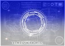 Белый логотип на сине- серой предпосылке Стоковая Фотография