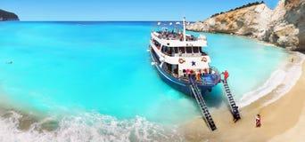 Белый остров лефкас песчаного пляжа Стоковая Фотография