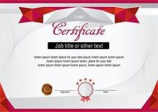 Белый официальный современный сертификат с красной рамкой Стоковая Фотография