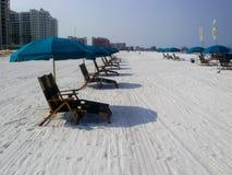 Белый песчаный пляж в южном пляже miami Стоковое Изображение RF