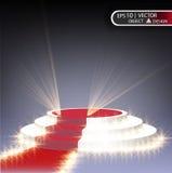 Белый подиум многоуровнев на прозрачной предпосылке с красным путем и делать фары Вектор eps Стоковое Фото