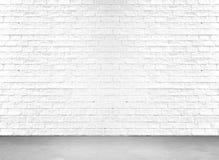 Белый пол кирпичной стены и цемента Стоковое Изображение