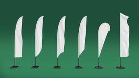 Белый пустой флаг пляжа стойки знамени экспо Будочка события экспо торговой выставки представьте модель-макет шаблона иллюстрации Стоковое Изображение