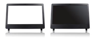 Белый пустой экран компьютера современного настольного компьютера Стоковая Фотография