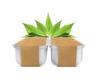 Белый пластичный пустой банк для еды, масла, майонеза, маргарина, сыра, мороженого, оливок, солениь, сметаны с крышкой бумаги eco Стоковое Изображение RF