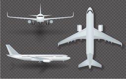 Белый самолет с значком тени установил на прозрачную предпосылку в профиле и от передней иллюстрации вектора иллюстрация вектора