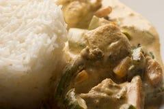 Белый сваренные рис и цыпленок Стоковая Фотография RF