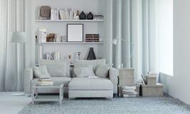 Белый современный интерьер с оформлением 3d представляют Стоковое Изображение