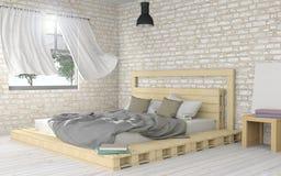 Белый современный и минимальный интерьер спальни Стоковое Изображение RF