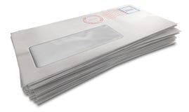 Белый стог конверта Стоковое Изображение RF