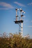 Белый столб сигнала поезда Стоковое фото RF