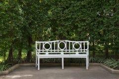Белый стул в зеленом цвете Стоковые Фото