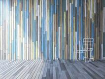 белый стул 3ds на деревянном поле Стоковое Изображение RF