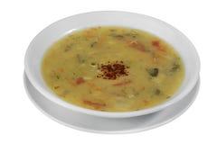 Белый суп рыб плиты фарфора Стоковые Изображения RF