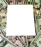 Белый текстовый участок на предпосылке валюты США Стоковые Фотографии RF