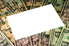 Белый текстовый участок на предпосылке валюты США Стоковое Фото
