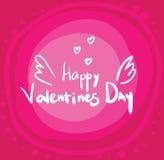 Белый текст с днем ` s валентинки крылов на розовой предпосылке Поздравительная открытка, знамя, логотип и эмблема стоковая фотография