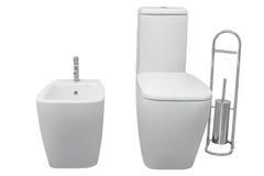 Белый туалет и биде изолированные на белой предпосылке Стоковая Фотография RF