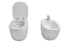Белый туалет и биде изолированные на белой предпосылке Стоковое фото RF