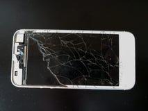 Белый умный сломанный телефон Стоковые Изображения