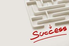 Белый успех текста лабиринта и фокуса Стоковая Фотография RF