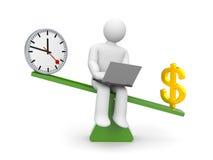 Белый характер между временем и деньгами Деньги перевешивают иллюстрация штока