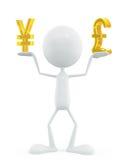 Белый характер с знаком иен и фунта иллюстрация вектора