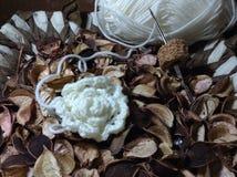 Белый цветок вязания крючком Стоковое Изображение RF
