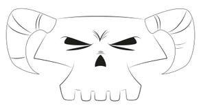 Белый череп шаржа Стоковые Изображения