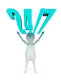 Белый человек 3d и 24/7 голубые текстов Стоковое Изображение RF