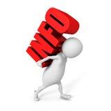 Белый человек 3d носит красное слово текста ИНФОРМАЦИИ Стоковая Фотография RF
