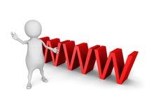 Белый человек 3d с большим красным символом текста WWW Стоковое Фото