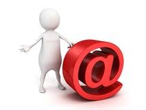 Белый человек 3d с большим красным цветом на символе электронной почты Стоковые Изображения
