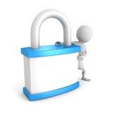 Белый человек 3d с голубым padlock белизна обеспеченностью предпосылки изолированная принципиальной схемой Стоковая Фотография RF