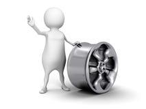Белый человек 3d с металлическим колесом автомобиля Стоковое Изображение RF