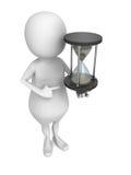 Белый человек 3d с часами песка Стоковое Изображение RF