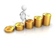 Белый человек 3d шагает на диаграмму в виде вертикальных полос монеток доллара успеха Стоковые Изображения RF