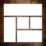 Белый шаблон модель-макета канцелярских принадлежностей над деревянной предпосылкой стоковая фотография rf