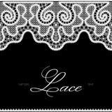 Белый шнурок на черноте Стоковое Фото