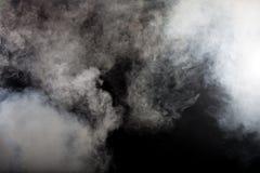 Белый дым на черной предпосылке Стоковое фото RF