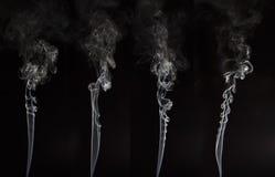 Белый дым на черной предпосылке Стоковая Фотография