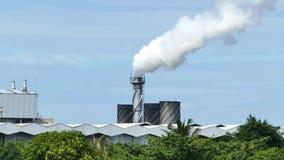 Белый дым от завода фабрики над предпосылкой голубого неба видеоматериал