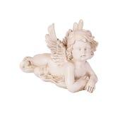 Белый figurine ангела на белой изолированной предпосылке Стоковое Изображение