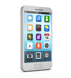 Белый smartphone с apps на экране иллюстрация штока