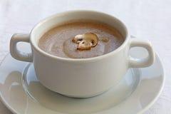 Белый tureen фарфора с супом сливк champignon Стоковая Фотография
